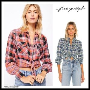FREE PEOPLE BOHO PLAID BUTTON DOWN TIE TOP A3C